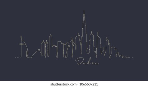 City silhouette dubai in pen line style drawing with beige on dark blue background