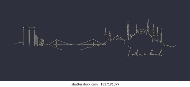 City silhouette Istanbul in pen line style drawing with beige lines on dark blue background