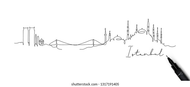 City silhouette Istanbul in pen line style drawing with black lines on white background