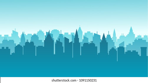 City silhouette land scape. Horizontal City landscape. Downtown landscape with high skyscrapers. Panorama architecture Goverment buildings illustration. Urban life Vector illustration