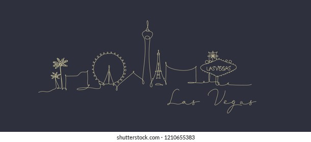 City silhouette las vegas in pen line style drawing with beige lines on dark blue background