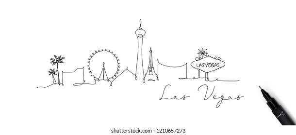 City silhouette las vegas in pen line style drawing with beige lines on white background