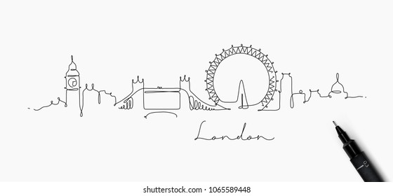 City silhouette london in pen line style drawing with black on white background