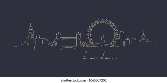 City silhouette london in pen line style drawing with beige on dark blue background