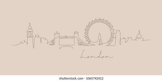 City silhouette london in pen line style drawing with brown on beige background