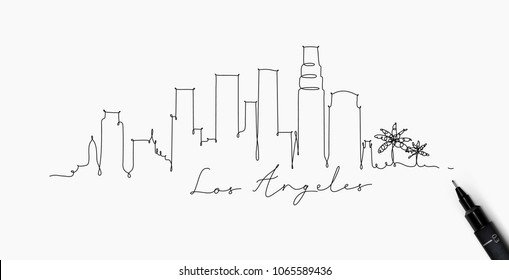 City silhouette los angeles in pen line style drawing with black on white background