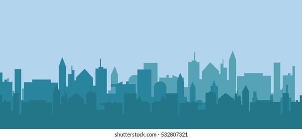 City silhouette in morning light vector illustation