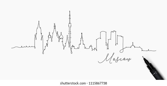 City silhouette moscow in pen line style drawing with black lines on white background