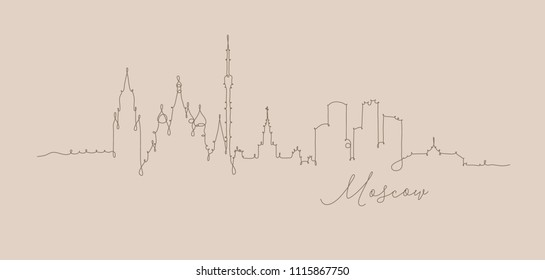 City silhouette moscow in pen line style drawing with brown lines on beige background