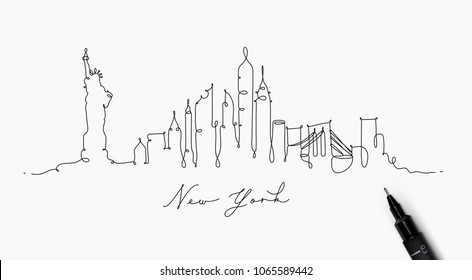 City silhouette new york in pen line style drawing with black on white background