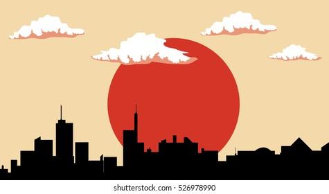 City silhouette , orange sun vector illustration