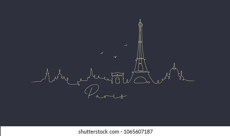 City silhouette paris in pen line style drawing with beige on dark blue background