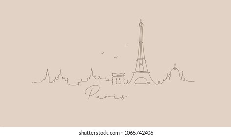 City silhouette paris in pen line style drawing with brown on beige background