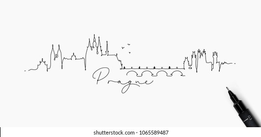 City silhouette prague in pen line style drawing with black on white background
