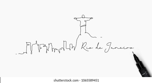 City silhouette rio de janeiro in pen line style drawing with black on white background