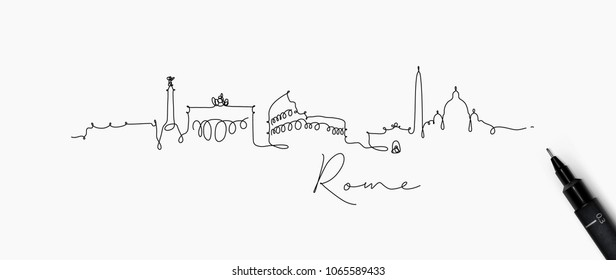 City silhouette rome in pen line style drawing with black on white background