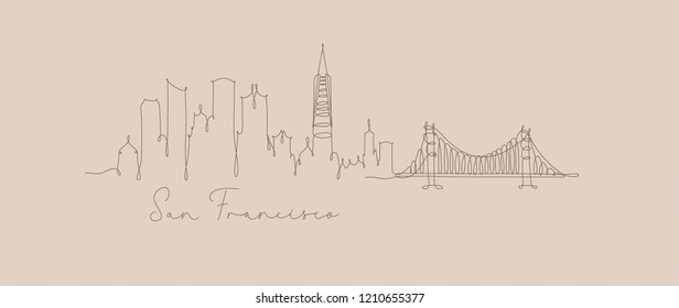 City silhouette san francisco in pen line style drawing with beige lines on beige background