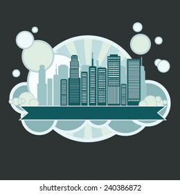 City silhouette sticker illustration
