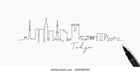 City silhouette tokyo in pen line style drawing with black on white background