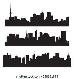 City silhouette vector set. Panorama city background