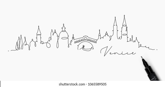 City silhouette venice in pen line style drawing with black on white background