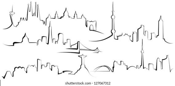 City silhouettes. Barcelona, San Francisco, Rio de Janeiro, Shanghai, Toronto