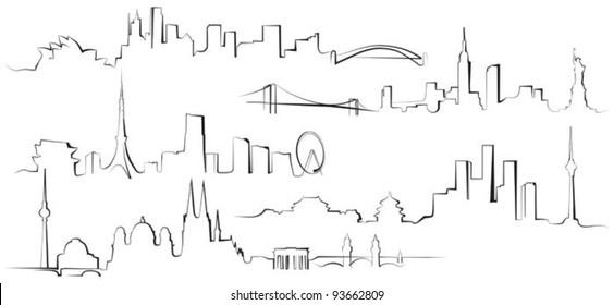 City silhouettes. Berlin, Sydney, New York, Tokyo, Beijing
