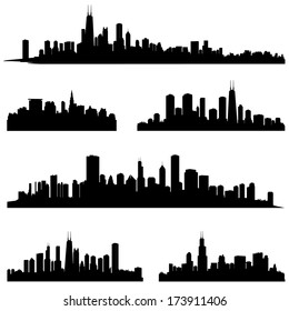 City silhouettes. Chicago Illinois various skyline silhouette set. Panorama city background. Urban skyline border collection.