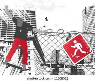 City Skater Sign