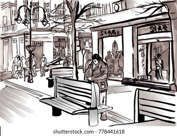 City sketch vector by pedestrian street life big town. Shop windows in tourist center of old Europe. Hand drawing outdoor man and other people walking travel urban architecture.
