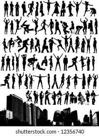 City skyline with 84 people silhouettes.