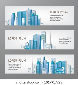 City skyline banners. Vector illustration. Urban landscape.