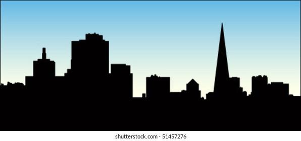 City Skyline with blue sky background.
