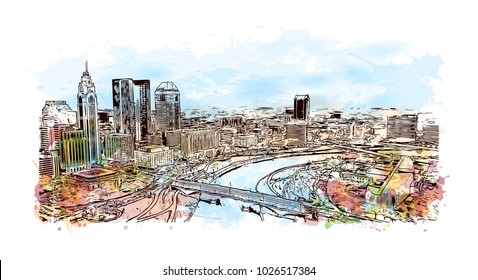 City skyline of Columbus City in Ohio, USA. Watercolor splash with hand drawn sketch illustration in vector.