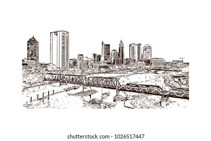 City skyline of Columbus City in Ohio, USA. Hand drawn sketch illustration in vector.