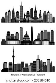 City skyline detailed silhouette set (New York, Washington DC, Toronto). Vector illustration