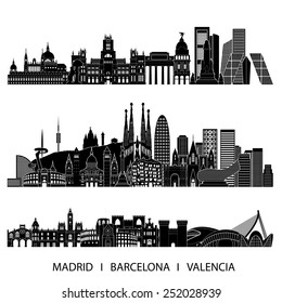 City skyline detailed silhouette set (Madrid, Barcelona, Valencia). Vector illustration