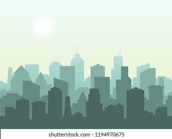 City skyline in flat style. City buildings silhouette. Vector illustration,eps10.
