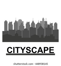 City skyline in grey colors. Buildings silhouette cityscape. Big city streets. minimalistic style. Vector illustration