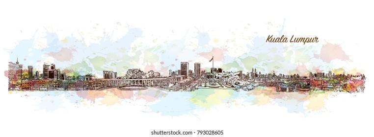 City Skyline Kuala Lumpur, Capital of Malaysia. Watercolor splash with hand drawn sketch illustration in vector.