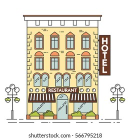 City skyline in line art style - landscape with house or hotel. Isolated vector illustration of beautiful cityscape for real estate and property banner or card.