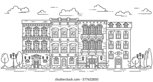 City skyline in line art style - landscape with houses, trees and clouds. Isolated vector illustration of beautiful cityscape for real estate and property banner or card.