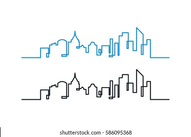 city skyline line art vector illustration