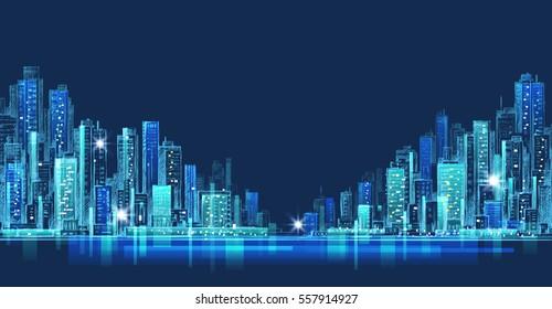 City skyline panorama at night, hand drawn cityscape