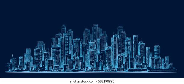 City skyline panorama at night, hand drawn architecture illustration