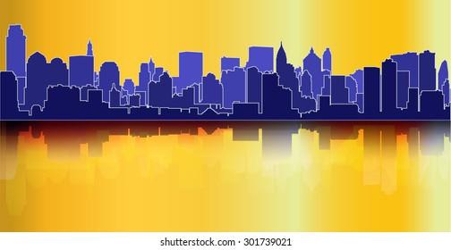 City skyline reflection decorative urban background blue orange