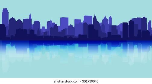 City skyline reflection decorative urban background