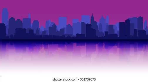City skyline reflection decorative urban background purple