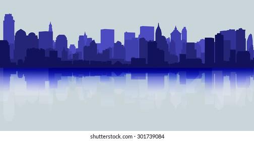 City skyline reflection decorative urban background light