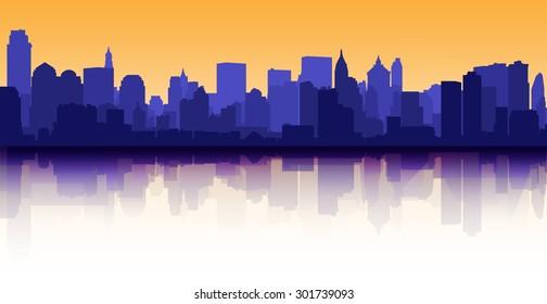 City skyline reflection decorative urban background sunset
